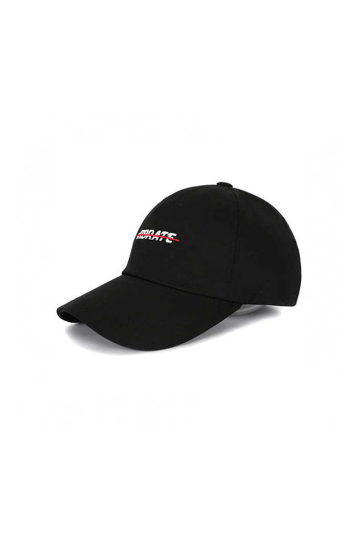 RED CROSSLINE BALL CAP (BLACK)
