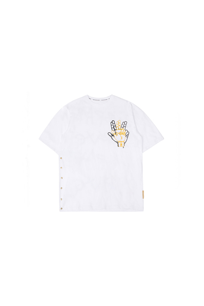 SIDE SNAP BUTTON T-SHIRT (WHITE)