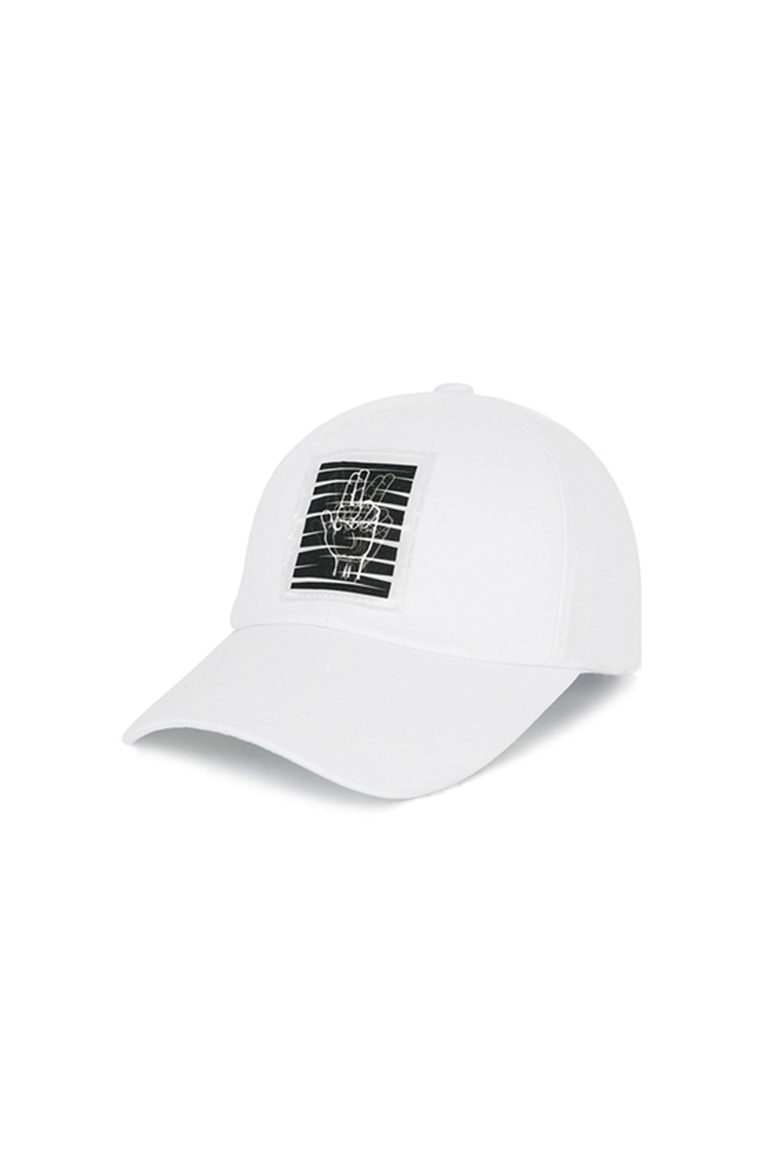 HAND SHAKE PATCH BALL CAP (WHITE)