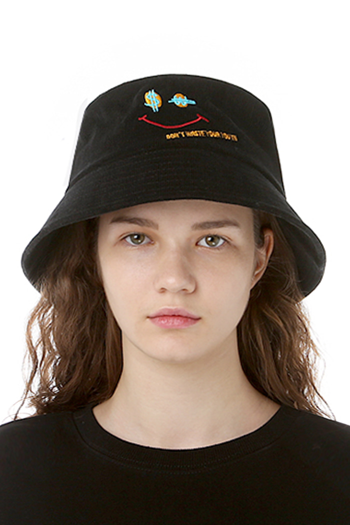 CORDUROY SMILE BUCKET HAT (BLACK)