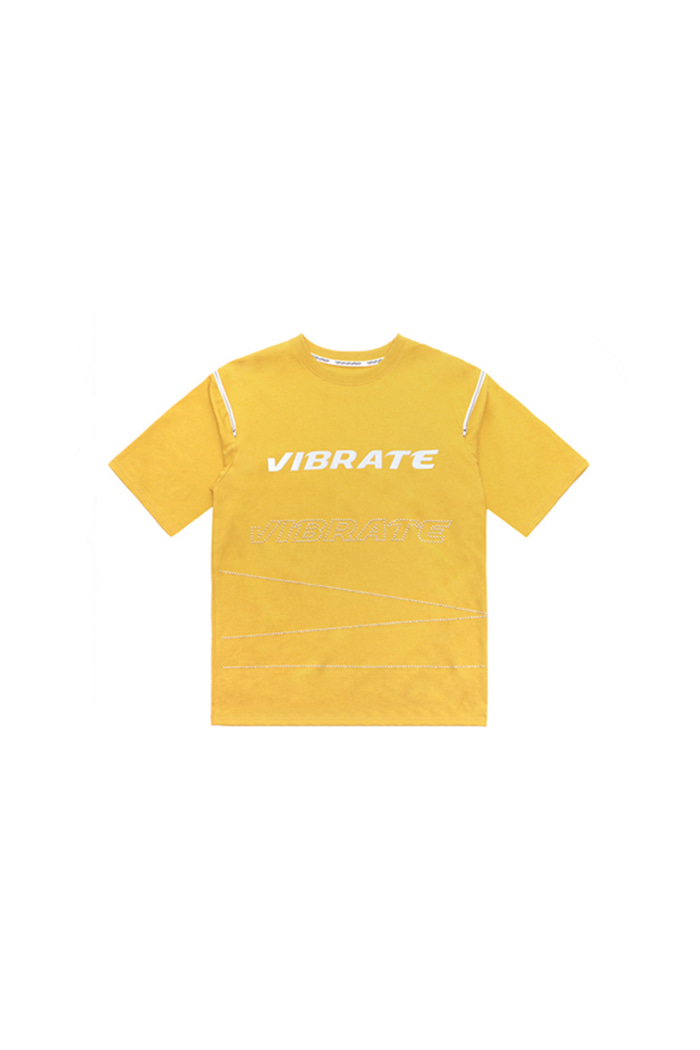 ZIPPER HOTFIX DETAIL T-SHIRT (YELLOW)