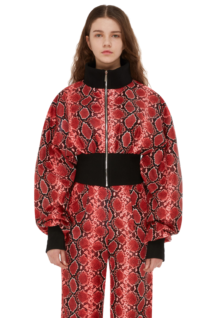 FAUX-PYTHON CROP BOMBER JACKET (RED)