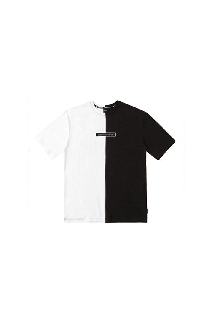 SPLIT APPLIQUE T-SHIRT (BLACK&WHITE)