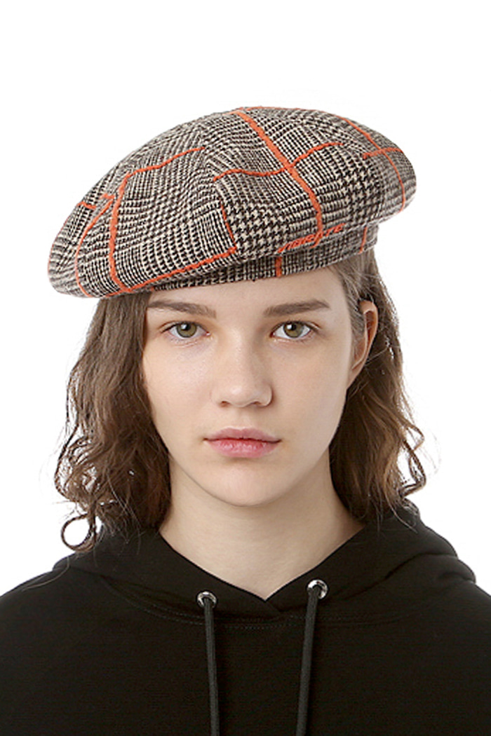 CHECKED PATTERN BERET (GRAY & ORANGE)