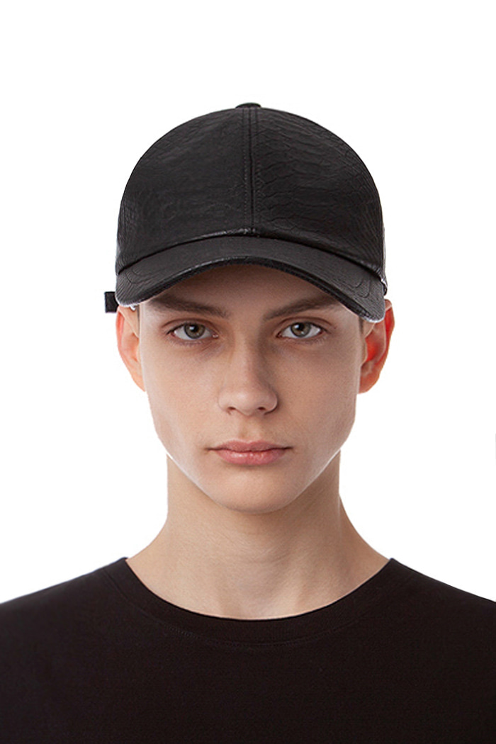 CROCODILE LEATHER BALL CAP (BLACK)