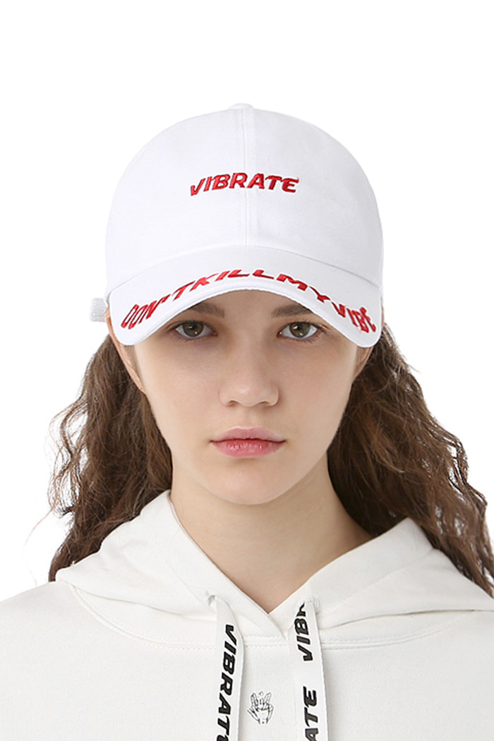 D.K.M.V VISOR EMBROIDERY BALL CAP (WHITE&RED)