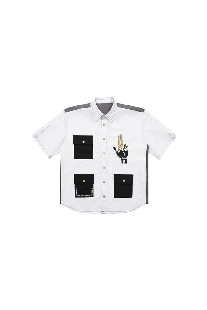 GOLD LINE 3POCKET HALF SHIRTS (WHITE)