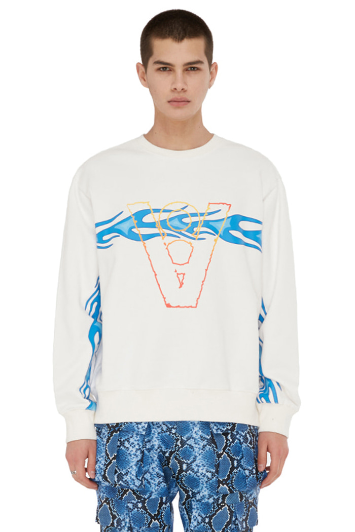 FLAME LINE SWEAT SHIRT (WHITE)