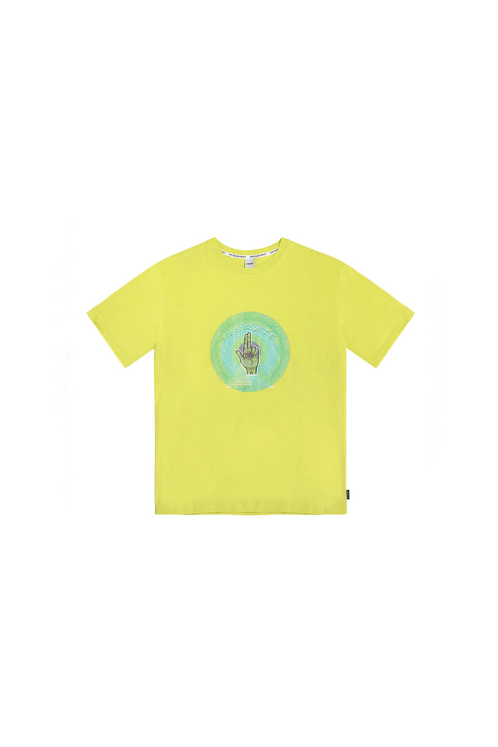 CIRCLE HAND SIGN LOGO T-SHIRT (LIME)