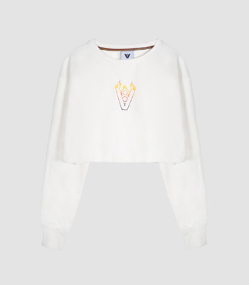 BLAZE LOGO CROP TOP (WHITE)