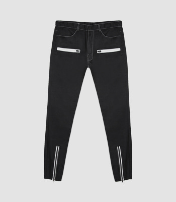 ZIPPER SLIM FIT PANTS (BLACK)
