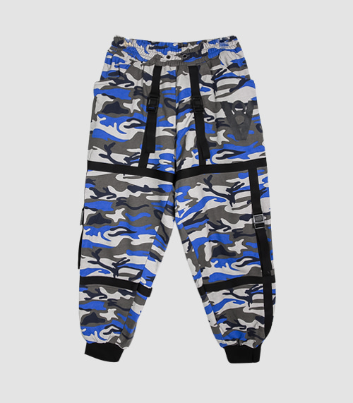 STRAP BUCKLE JOGGER PANTS (BLUE CAMO)