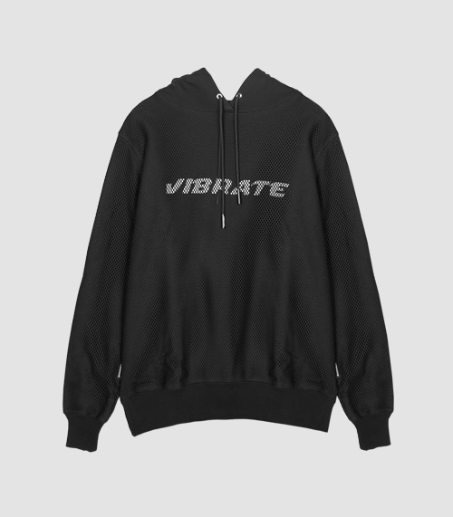 VIBRATE - MESH COVERED HOODIE (BLACK)