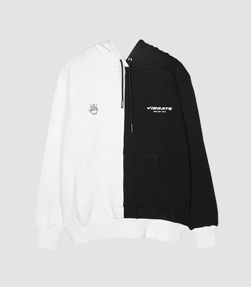 VIBRATE - HALF DIVIDED HOODIE (BLACK & WHITE)