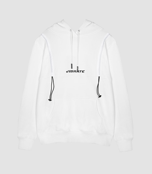 VIBRATE - STRING POINT BASIC HOODIE (WHITE)