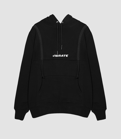 VIBRATE - STRING POINT BASIC HOODIE (BLACK)