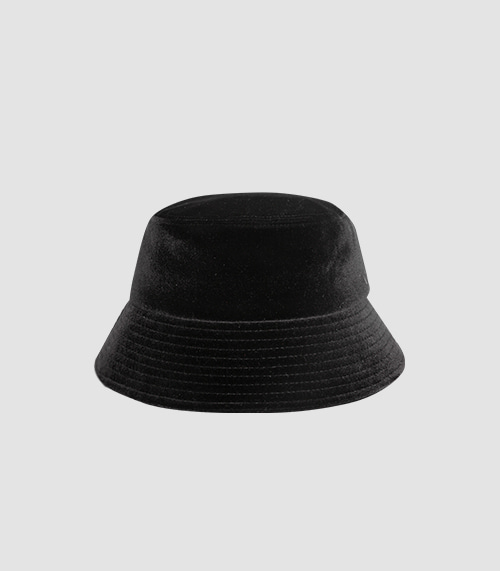 BLACK LINE - VELVET BUCKET HAT (BLACK)