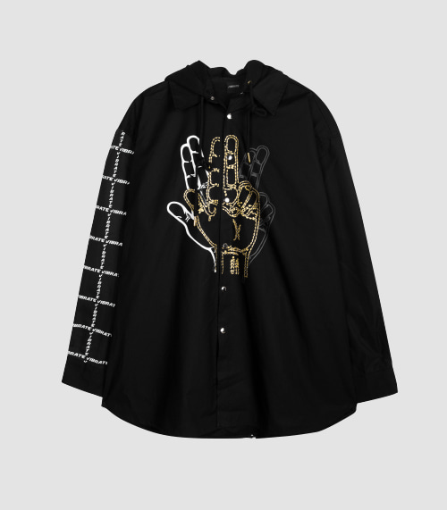 GOLDLINE CENTER FINGER HOODIE JACKET (BLACK)