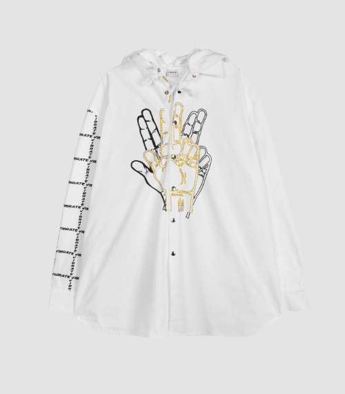 GOLDLINE CENTER FINGER HOODIE JACKET (WHITE)