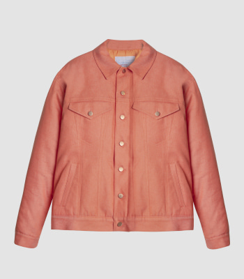 COTTON DENIM PUFFER JACKET (ORANGE)