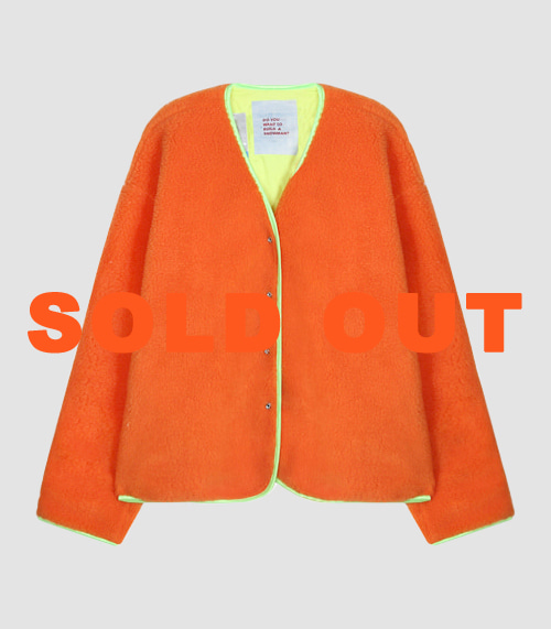 [UNISEX] COMFORTABLE LAYERED FLEECE JACKET - ORANGE
