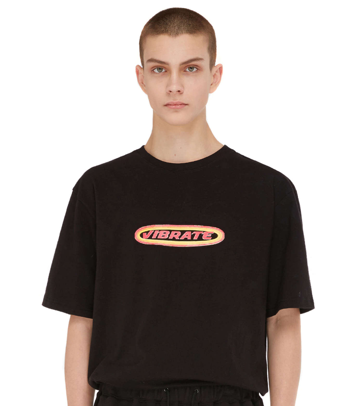 TWO TONE ROUND LOGO T-SHIRT (BLACK)