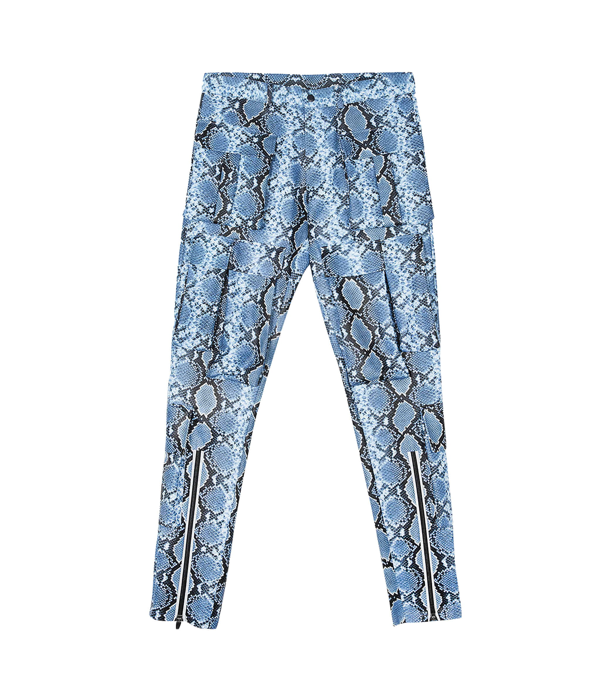 FAUX-PYTHON POCKET PANTS (BLUE)