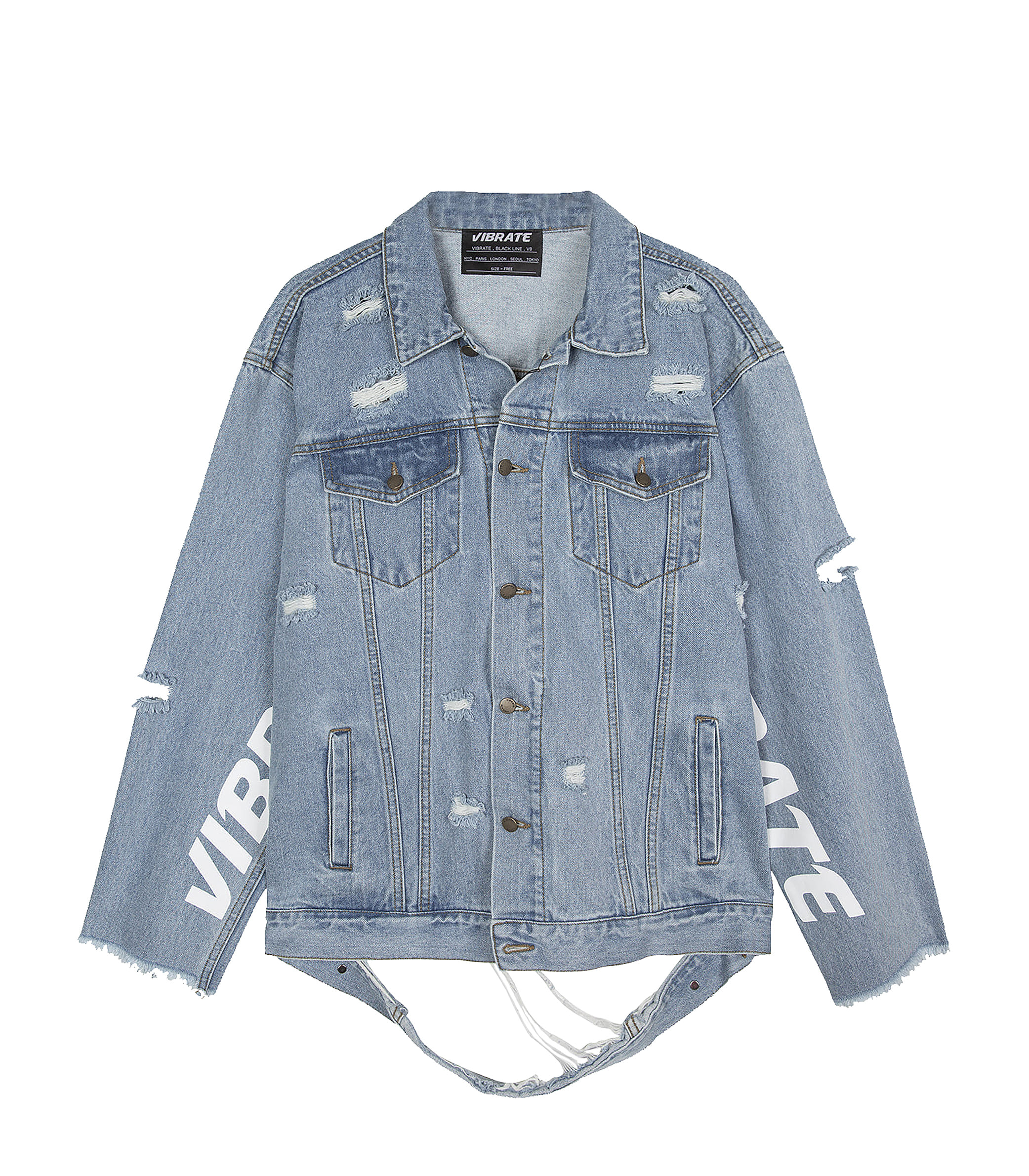 DAMAGED DENIM JACKET (BASICFIT,DENIM)