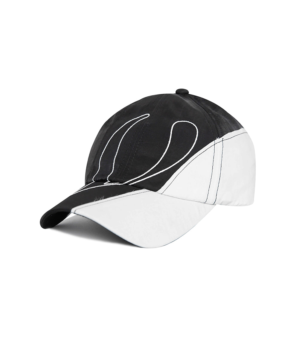 V LOGO PIECE BALL CAP (BLACK & WHITE)