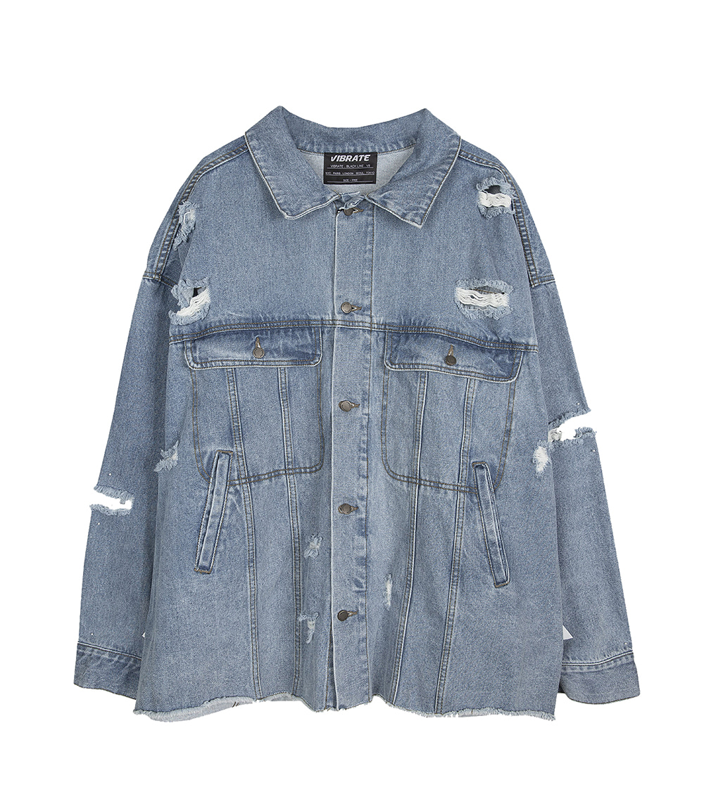 DISTRESSED LONGLINE DENIM JACKET (DENIM)