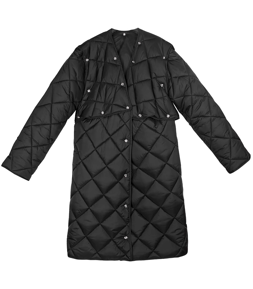 LAYERED LONG VEST PADDING (BLACK)