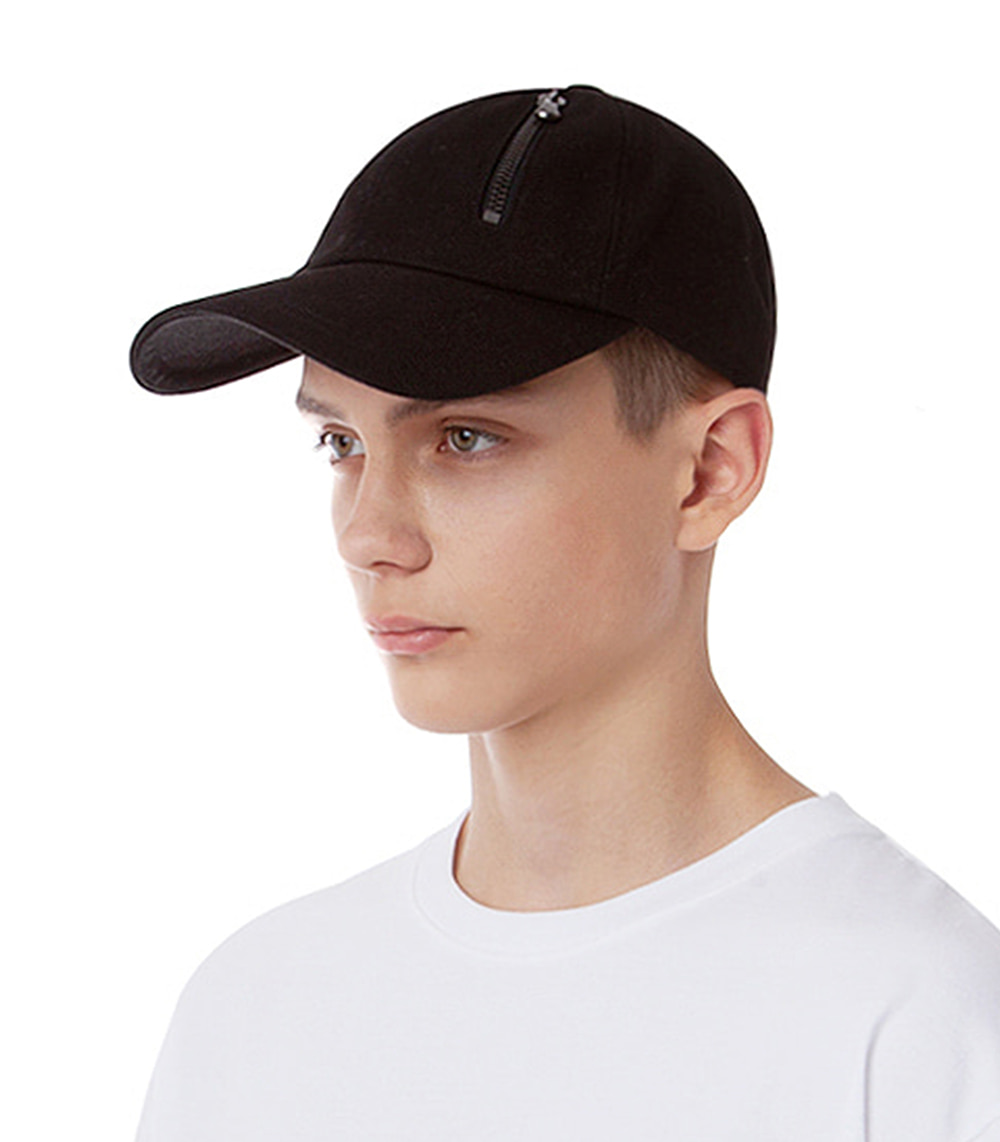 PANNEL ZIPPER BALL CAP (BLACK)