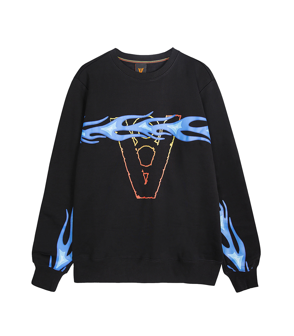 FLAME LINE SWEAT SHIRT (BLACK)