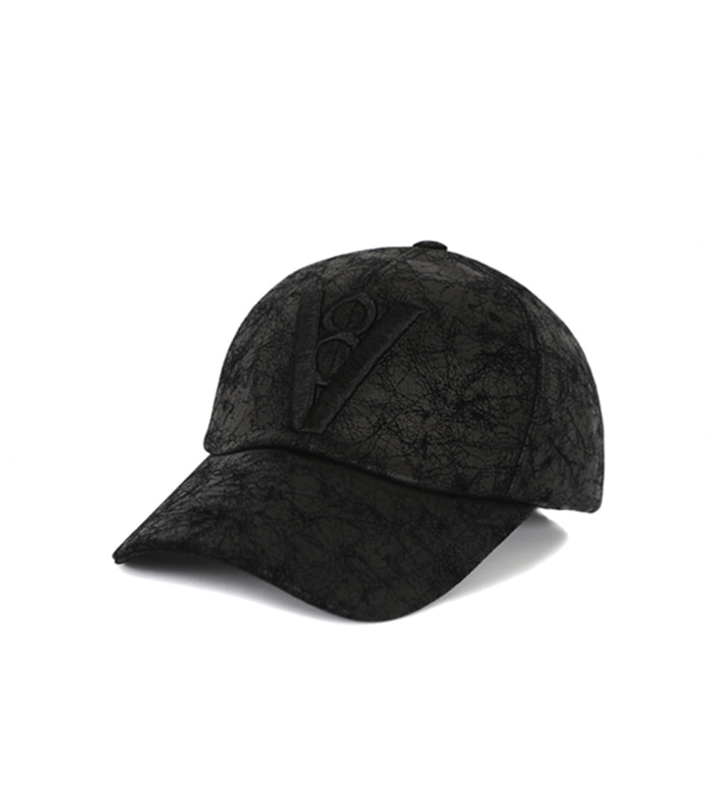 CRACK LEATHER BALL CAP (BLACK)