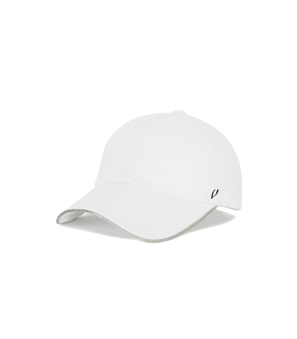 ZIPPER DETAIL BALL CAP (WHITE)